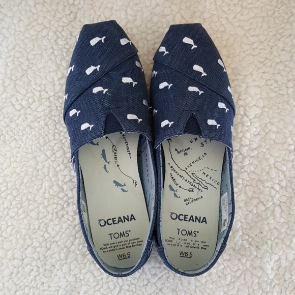 ab077900add Tom s Oceana embroidered whales classic shoes. M 5b33ca8cc617779fa58cd8a0